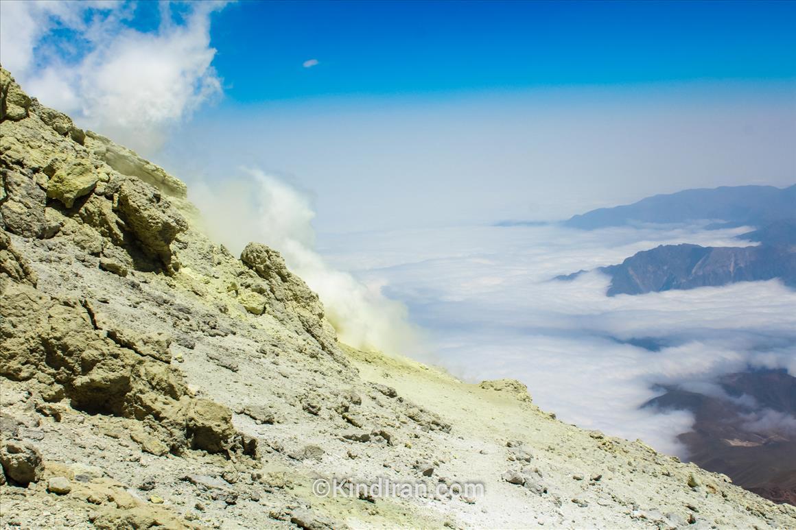 Sulfur gas outlet near peak